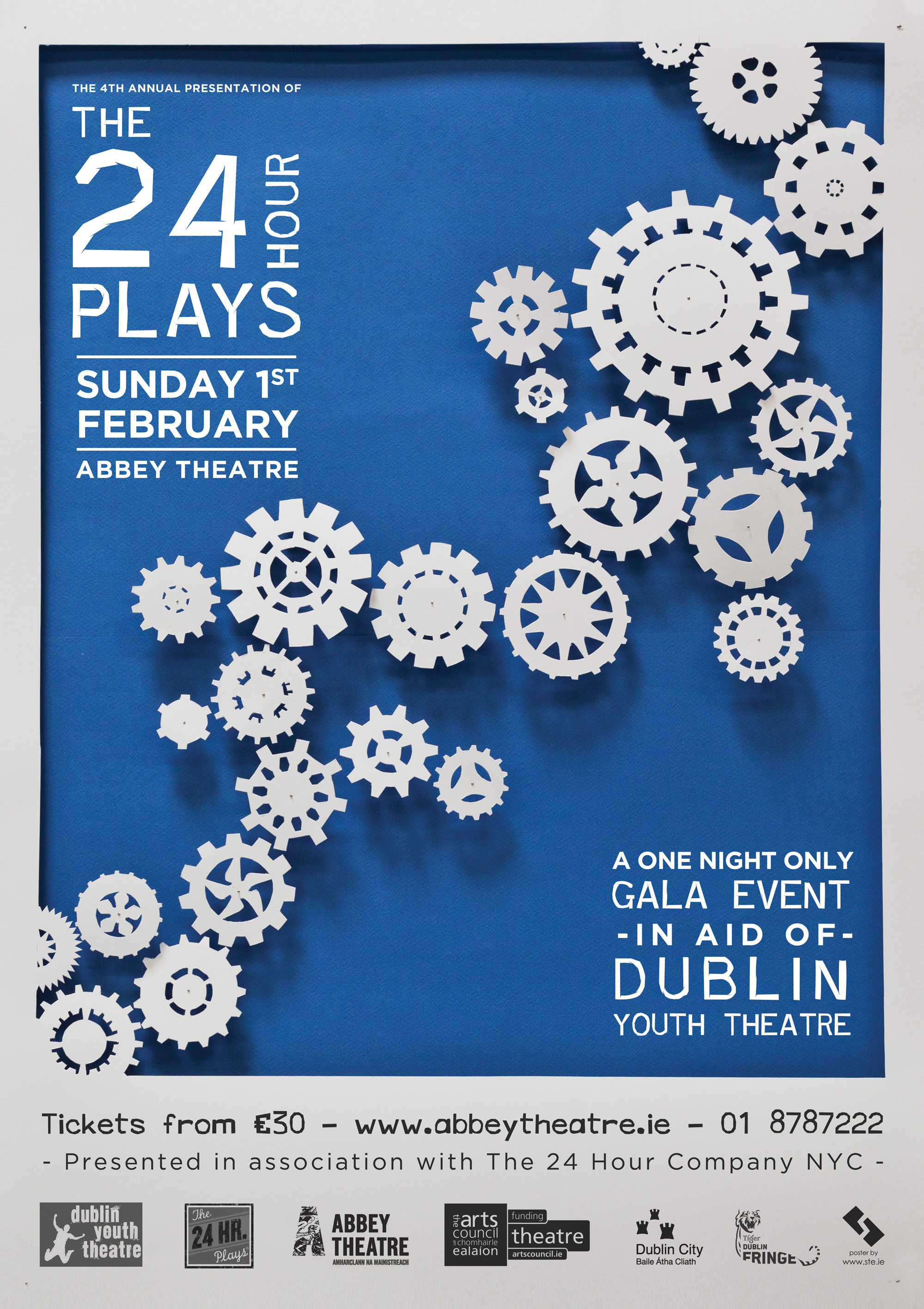 Poster for The 24 Hour Plays in aid of Dublin Youth Theatre